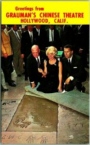 1961 Hollywood Postcard DORIS DAY Handprint Ceremony Grauman's Chinese Theatre