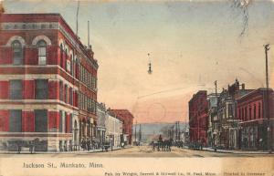 Mankato Minnesota~Jackson Street~Dr Snow Dentist~Plumbing Heating~Pianos~1909