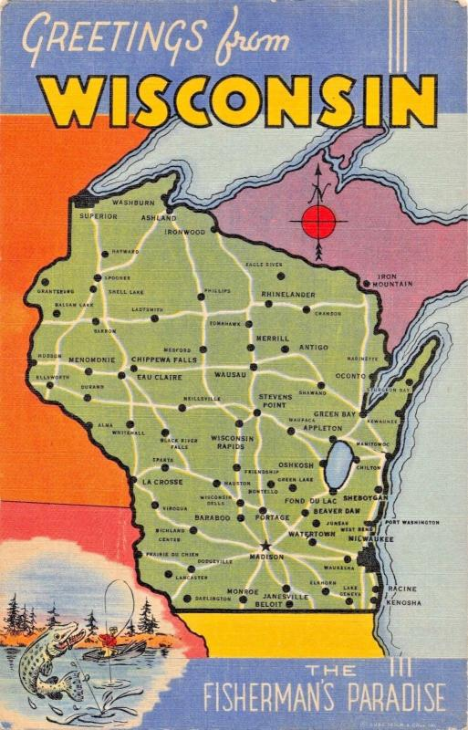 GREETINGS FROM WISCONSIN~FISHERMANS PARADISE-MAP-LARGE LETTER POSTCARD 1940s