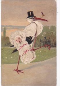 Birth Stork Delivering Baby Wrapped In Blanket 1915