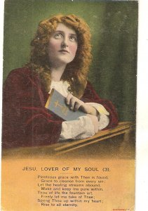 Lady praying. Jesu, lover of my soul (3) Vintage Bamforth Religious postcard