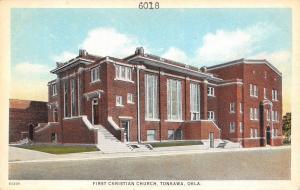 Tonkawa Oklahoma~First Presbyterian Church~3 Long Windows~Postcard 1920s