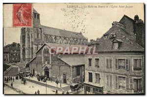 Old Postcard Lisieux Halle Butter and & # 39eglise Saint Jacques