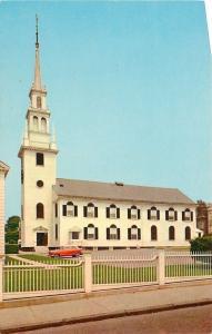Newport RI~Trinity Church~NICE Red 1950s Car~1959 Postcard