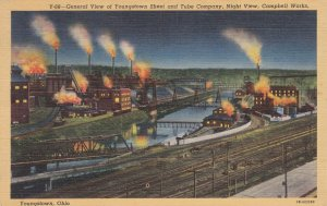 Ohio Youngstown Night View Of Youngstown Sheet & Tube Co 1944 Curteich sk6935