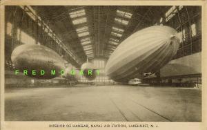 1932 Lakehurst New Jersey Postcard: 4 Airships in Hangar at Naval Air Station