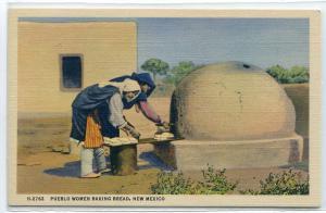 Pueblo Women Baking Bread Native American Indian New Mexico Fred Harvey postcard