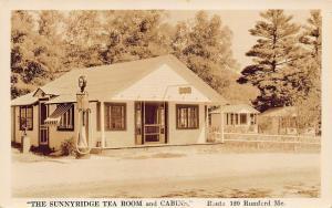 Rumford ME The Sunnyridge Tea Room and Cabins Tydol Gas Pumps on Rt 120 RPPC