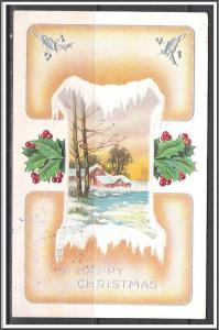 A Happy Christmas  - Holly - Winter Scene - Embossed - [MX-161]