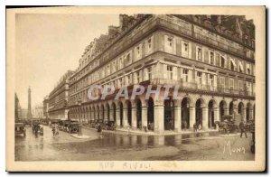 Old Postcard Paris At the corner of Rue de Castiglione and Rivoli