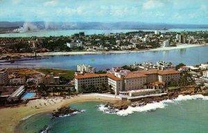 San Juan Puerto Rico Aerial View Condado Beach Hotel Postcard