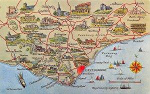 Map Postcard of Romney Marsh, Kent, Hastings, Tenterden, Hythe, Folkestone BC2