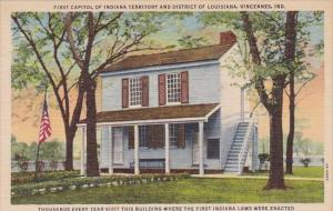 Indiana Vincennes First Capitol Of Indiana Territory And District Of Louisian...