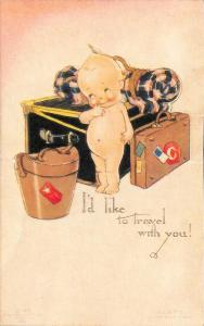 Rose O' Neill Kewpie I'd like to travel with you! Postcard