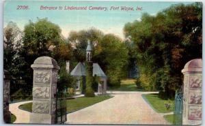 Fort Wayne, Indiana Postcard Entrance to Lindenwood Cemetery c1910s Unused