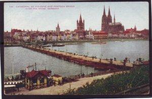 P1376 old unused postcard cathedral & pontoon bridge over river rhine germany