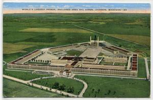 State Prison Jackson Michigan linen postcard