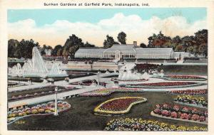 Indianapolis Indiana~Gardfield Park-Sunken Gardens-Fountains-Building~1920s Pc