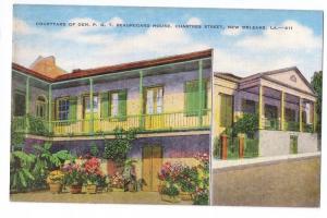 New Orleans LA Courtyard Beauregard House Linen Postcard