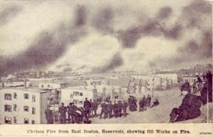 CHELSEA, MA VIEW OF GREAT FIRE 1908 FROM EAST BOSTON RESERVOIR OIL WORKS ON FIRE
