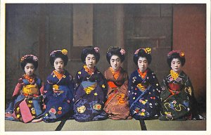 Japan Girls geisha kimono costume siting colorful young beautiful flowers