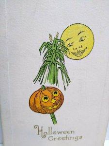 Vintage Halloween Postcard Gibson Mr Moon Smiling On Pumpkin Head Man Unused