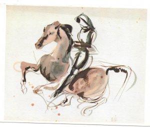 Delacroix Horseman Cavalier Study Drawing Louvre Museum F Hazan 4X6 Postcard