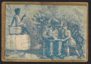 VICTORIAN TRADE CARD Wire Gauze Oil Stove Uncle Tom Reading to Eva Black Girl
