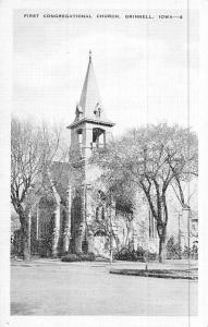 Grinnell Iowa First Congregational Church Street View Antique Postcard K47762