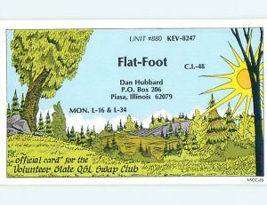 comic - QSL HAM RADIO CARD Piasa Illinois IL t0909
