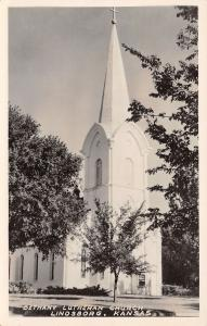 Lindsborg KS All-White Steeple w/Cross~Bethany Lutheran Church~RPPC 1956
