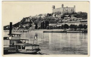 Slovakia; Bratislava, View Of Casle From River PPC, Unused, 1933, Note Steamer