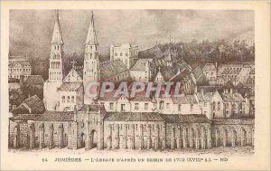 Old Postcard Jumieges Abbey After a Drawing of 1702