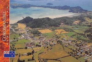 New Zealand Aerial view Coromandel Township Panoramic view