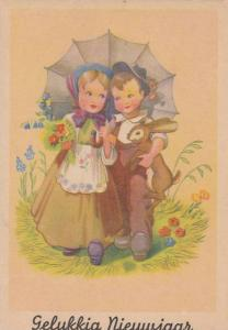 Boy in Overalls Carrying Rabbit Sharing Umbrella w/ Girl in White Apron Carry...