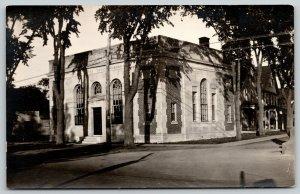 Fryeburg Maine~City Bank~United States Trust Co~Neighborhood Home~1920s RPPC