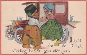 Dutch Kids Getting Into Car 1913