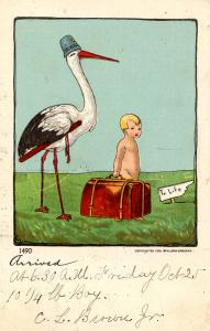 Greeting - Birth, Stork and Baby