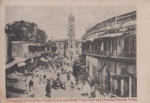 Delhi Town Hall Clock Tower Antique Postcard