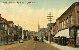 Main Street looking West St John N. B. Street Postcard