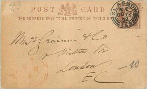 Entier Postal Stationery 1 / 2p Glasgow for London 1892