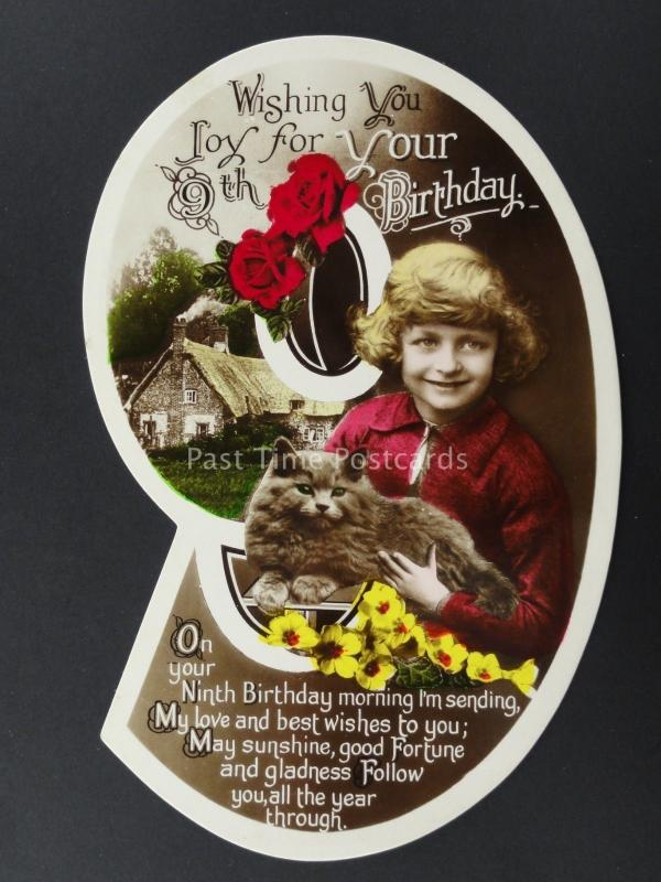 c1930's LITTLE GIRL WITH FLUFFY CAT Cut Out Numeral 9th Birthday Postcard