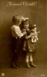 Boy & Girl - Are you coming with me?       RPPC