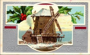 Kind Wishes for Christmas Xmas  - Windmill - Vintage - Postcard