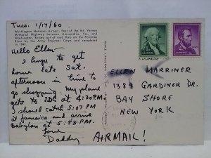 Washington National Airport 1960 postcard Wash DC written from daddy