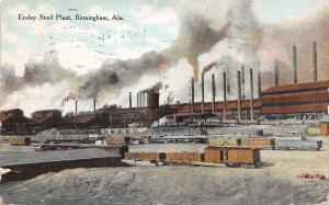 Birmingham Alabama~Ensley Steel Plant~Smokestacks~RR Box Cars~1909 Postcard