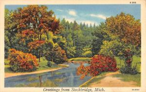 Stockbridge Michigan Scenic Waterfront Greeting Antique Postcard KA688575
