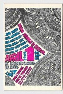PPC POSTCARD CALIFORNIA PALM SPRINGS POP FESTIVAL 1969 APRIL 1ST CONCERT POSTER