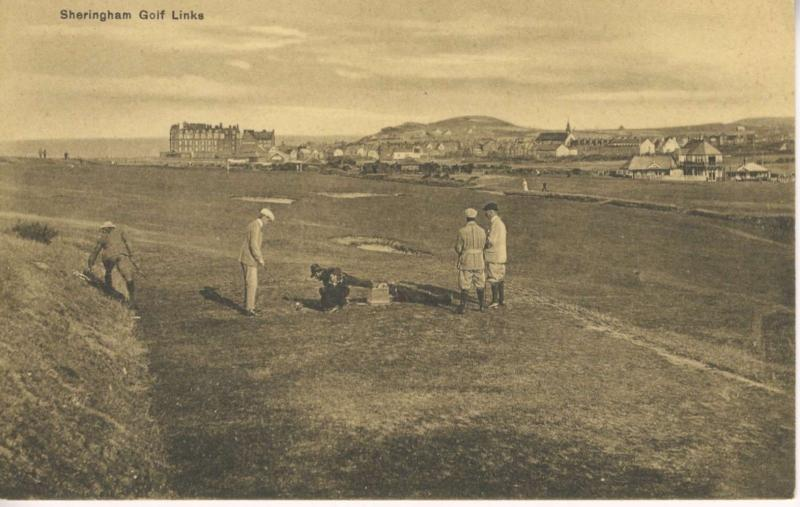 Sheringham Golf Links Club Norfolk England UK Golf Course Golfers Postcard E11
