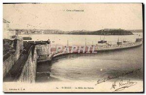 Old Postcard St Malo Le Mole Noires